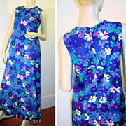 70's Kahala Mod Blue Floral Hawaiian Maxi Dress M