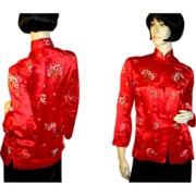 Lush 70's Vivid Red Silky Asian Embroidered Top S