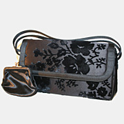 Rich 60s Coblentz Flocked Black Velvet Floral Bag