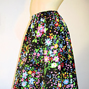 Bright 70s NOS Skirt Vibrant Black Multi Color Floral S/M