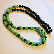 Deco 1930s Carved Celluloid Jadeite Black Bead Necklace