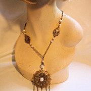 60s Baroque Pearls Filigree Pendant Festoon Chain Necklace Design by Paula