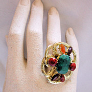 Massive 70s Cocktail Ring Faux Jade Carnelian Statement Piece