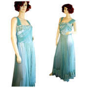 Stunning 40s Aqua Tulle and Lace Gown S Tall