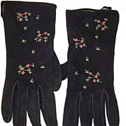 Vintage French Navy Suede Gloves Embroidered Flowers Paris 6.5