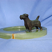 bronze Sealyham terrier 4&quot; Germany onxy tray