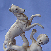 1930s German playing bisque borzoi & boy