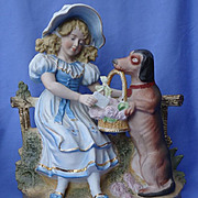 huge Victorian figurine girl w Dachshund 11&quot;