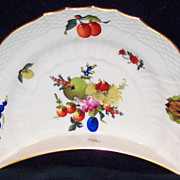 Herend Flower and Fruits Crescent Shape Side Dish