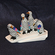 Herend Fishnet Penguins on an Iceberg