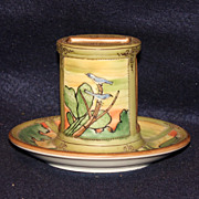 Nippon Moriage Bluebird and Cactus Match Holder and Tray