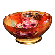 Hand Painted T&V Limoges/Pickard Roses Punch Bowl Signed Jelinek