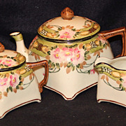 Nippon Moriage Square Tea Set with Roses