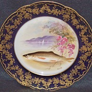 Set of 6 Artist Signed Limoges Hand Painted Cobalt Fish Plates