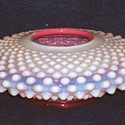 Fenton Cranberry Opalescent Hobnail Rose Bowl