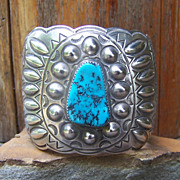 Huge Signed Navajo Sterling Silver And Turquoise Bracelet