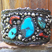 SALE Huge Signed Ornate Old Pawn Native American Sterling Silver, Turquoise And Coral Bracelet