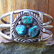 Vintage Navajo Sterling Silver And Turquoise Bracelet