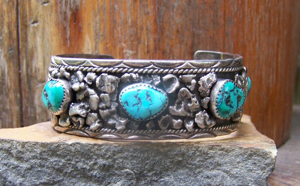 Handmade Signed Vintage Navajo Sterling Silver And Turquoise Bracelet