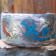 Large Signed 1970's Navajo Sterling Silver Kachina Bracelet