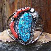 Old Native American Sterling Silver, Turquoise And Coral Bracelet