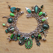 Charm Bracelet With Native American Sterling, Turquoise And Gaspeite Charms