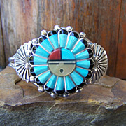 Signed Zuni Sterling Silver Inlaid Sun God Bracelet
