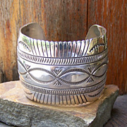 Very Wide Vintage Native American Sterling Silver Bracelet