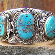 Huge Signed Vintage Navajo Sterling Silver And Turquoise Bracelet