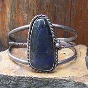 Vintage Native American Sterling Silver And Labradorite Bracelet