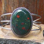 Signed Vintage Native American Sterling Silver And Bloodstone Bracelet