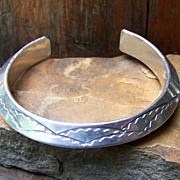 Heavy Vintage Native American Sterling Silver Ingot Bracelet