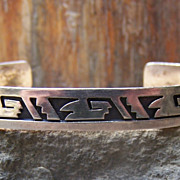 Large Size Vintage Native American Sterling Silver Overlay Bracelet