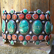 Spectacular Rare Old Native American Sterling Silver, Coral And Turquoise Bracelet