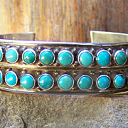 Old  Native American Sterling Silver And Turquoise Bracelet