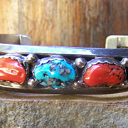 Vintage Native American Sterling Silver, Coral And Turquoise Bracelet