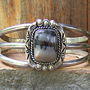 Vintage Native American Sterling Silver  Petrified Wood Bracelet