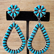 Huge Vintage Native American Sterling Silver And Turquoise Hoop Earrings