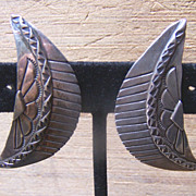 Large Vintage Native American Sterling Silver Earrings