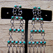Signed Zuni Sterling Silver And Turquoise Petitpoint Dangle Earrings