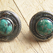 Old Native American Sterling Silver And Turquoise Snake Earrings