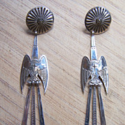 Extra Long Signed Vintage Navajo Sterling Silver Peyote Bird Earrings
