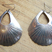 Large Signed Navajo Sterling Silver Earrings