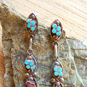 Vintage Zuni Sterling Silver, Turquoise And Coral Dishta Style Earrings