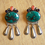 Very Large Vintage Native American Sterling Silver And Turquoise Earrings