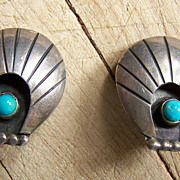 Signed Older Navajo Sterling Silver And Turquoise Shell Earrings