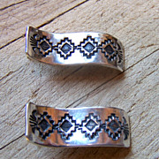 Vintage Navajo Vincent Platero Sterling Silver Basket Weave Earrings
