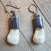 Unusual Old Native American Sterling Silver Elk Teeth Earrings