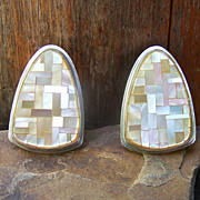 Signed Santo Domingo Charlie Bird Mosaic Inlay Earrings