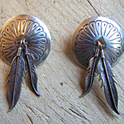 Large Vintage Native American Sterling Silver Shield Earrings